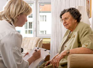 caregiver assessing her patient condition