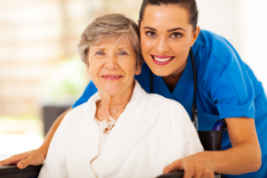 young nurse with an elderly patient